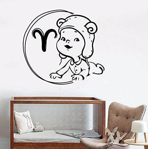 Muurtattoo Zodiac Baby Ram Horoscoop Kinderkamer Kinderen Slaapkamer Woondecoratie Creatieve Leuke Vinyl Muursticker Kinderkamer Muurschildering 57X62 Cm