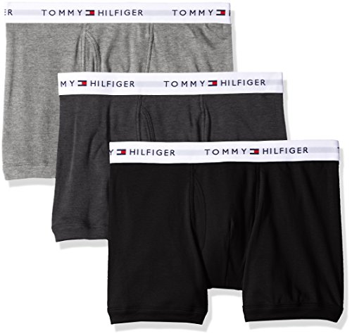 Tommy Hilfiger Men's Underwear 3 Pack Cotton Classics Trunks, Grey Heather, Large