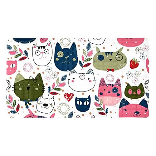 GORDESC Tapis de bain original (39,9 x 70,9 cm) - Motif têtes de chat mignonnes - Pour adultes et enfants - Douches de salle de bain - Douches lisses et non texturées