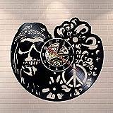 CCJNN Reloj de Vinilo con diseño de Calavera y Flores, Movimiento de Cuarzo silencioso, Reloj de Pared 3D, decoración del hogar, Arte de Pared, Regalo Hecho a Mano, Navidad de 12 Pulgadas