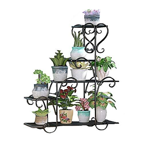 XYJNN Etagere Plantes-Cache Pot sur Pied Intérieur en Fer Forgé Vert Fleur Stand Balcon Sol Type Succulent Pot Stand | Détachable (Color : Black, Size : 75x48x23cm)