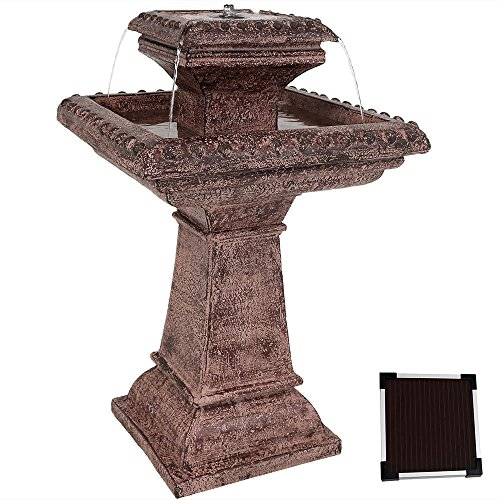 Sunnydaze Richwell Solar with Battery Backup Bird Bath Outdoor Water Fountain with LED Light - Outside Garden and Patio Water Feature with Rechargeable Solar Battery - 31-Inch