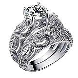 Hunpta - Anillo para mujer con diamantes de imitación y circonitas de cobre para bodas y fiestas (plata, 10)