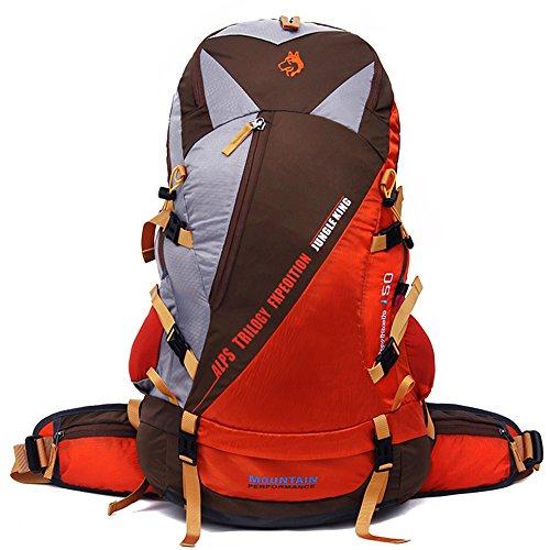 Jungleking 登山かばん 大容量リュックサック 防水 レインカバー付 登山 リュック 50L アウトドア 軽量 リュック バックパック メンズ カバン 多機能 ディバッグ ユニセックス-1601 (オレンジ色)