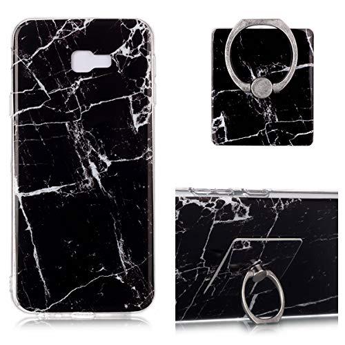 QFUN Marmor Hülle für Samsung Galaxy J4 Plus 2018 mit Ring Ständer, Marble Muster Dünn Weich Silikon Handyhülle Flexible Gummi TPU Bumper Schutzhülle mit 360 Grad Ringhalter und Schutzfolie,Schwarz