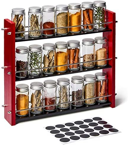 EZOWare Wood Spice Rack with 21 Empty Jars and Labels 3 Tier Freestanding Organizer Shelf Display product image