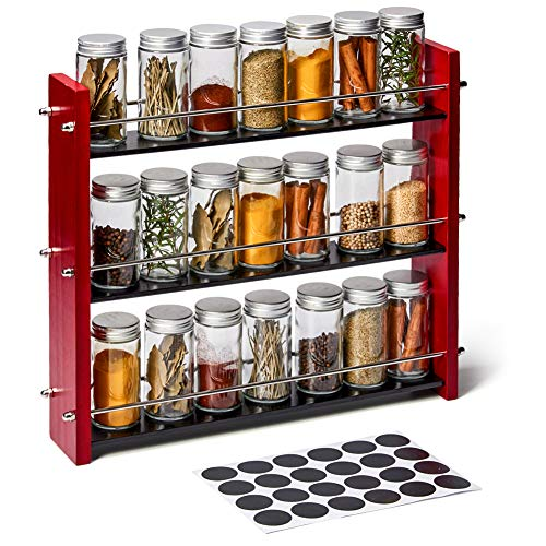 EZOWare 3 Niveles Especiero de Madera con 21 Botes Vacíos de Cristal y Etiquetas, Estante Organizador de Especias para Encimeras, Gabinetes, Armario, Cocina, Despensa - Rojo y Negro