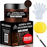 FORTIVO Dark Brown Leather Recoloring Balm - Leather Repair Kits for Couches - Leather Restorer for Couches Brown Car Seat, Boots - Cream Leather Repair for Upholstery - Dark Brown Leather Dye