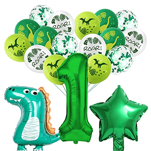 Dinosaur Party Decorations for Boys, 1th Birthday Balloons Dinosaur Theme Green, Giant Foil Balloon Number 1, Dinosaur Balloon Kit Birthday Decorations Party Supplies for Kids (Dinosaur, Number 1)