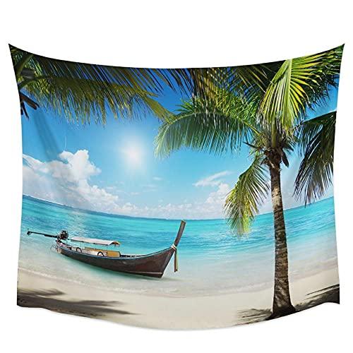 Playa Cocotero Barco Tapiz de pared Cubierta Toalla de playa Picnic Estera de yoga Decoración del hogar 150x100cm / 59x39inchch