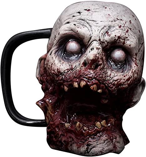 Halloween Horror-Zombie Head Cup 3D Zombie Macabre Tazas de café/Taza de Resina con Forma de Calavera con asa para el café y el Amante del Terror (C)