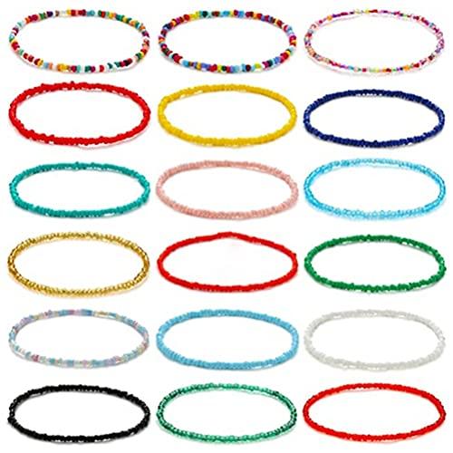 18 pulseras de cuentas bohemias con cuentas de colores, cadena bohemia, ideal para mujeres y niñas