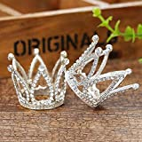 2Pcs Mini Infant Crown Baby Princess Tiara Cake Topper Crystal Rhinestone Small Silver Cupcake Crown for Newborn Photo Prop Royal Prince Themed Birthday Wedding Christmas Party Decorations