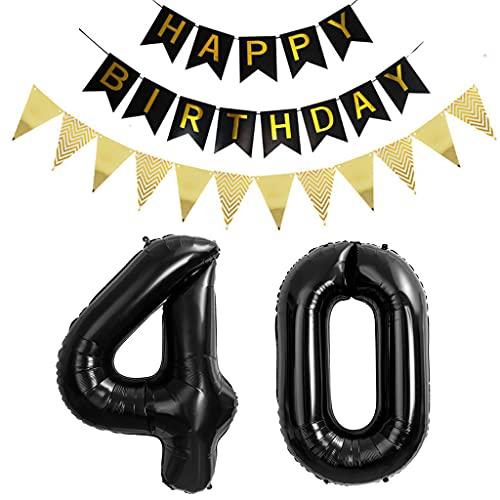 2 globos con el número 40, color negro, para 40 cumpleaños, decoración para mujer, color negro y dorado, número 40 globos + guirnalda de feliz cumpleaños + banderines para 40 años