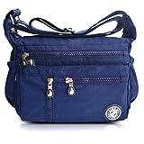 AIBILIEI Women more Pocket Crossbody Bag Shoulder Messenger bag Handbag for Daily Use Slightly waterproof(4-Blue)