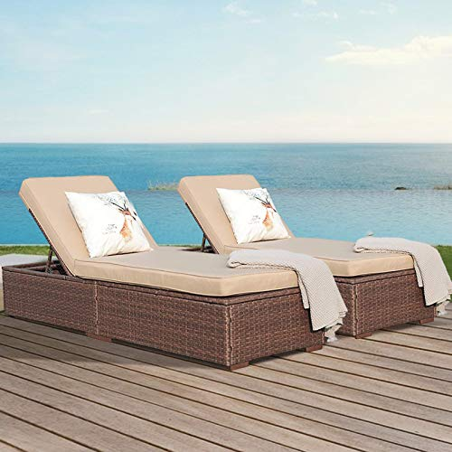 Super Patio Outdoor Chaise Lounge Chair, PE Brown Wicker Rattan Adjustable Pool Lounge Chair, Steel Frame with Removable Cushions, Beige (Set of 2)