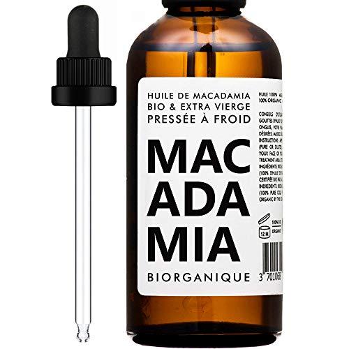 Huile de Macadamia 100% Bio, Pure et Naturelle - 100 ml - Soin pour Corps, Peau, Anti-âge, Visage, Massage