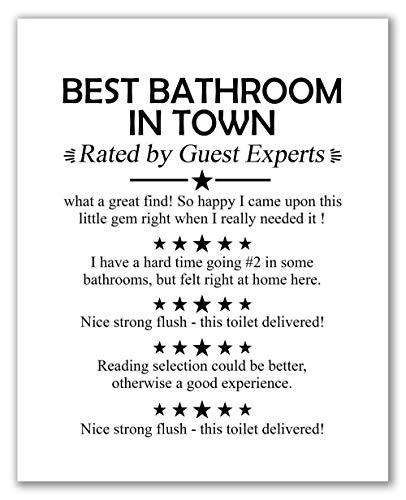 "Funny Bathroom""Guest Reviews"" Wall Art - 8"" x 10"" - Unframed, Best Bathroom In Town, Bathroom Décor, Typography Art Print, Home Décor, Bathroom Prints"