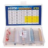 BOJACK 630 pezzi 17 valori Kit di resistori da 0 Ohm-1M Ohm con 1% 1/4W Resistori a film metallico Assortimento e prodotto gratuito 1 Pz Termistore e 1 Pz Fotoresistenza e 10 Pz lampe