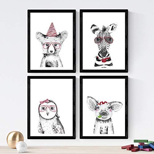 Nacnic Set de 4 láminas de Animales Infantiles Colores Rojos,en tamaño A4, Poster Papel 250 gr Marco