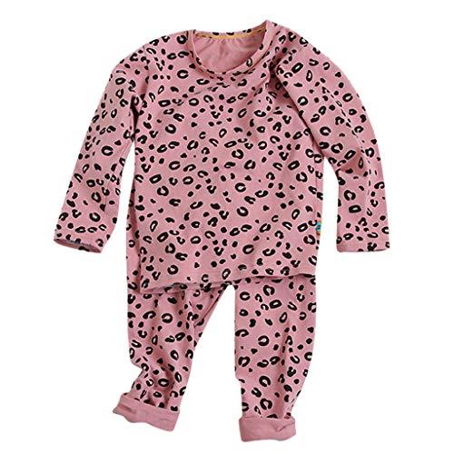 Ensembles de Pyjama Bébé Vêtements Fille Léopard Imprimé Pantalon Flanelle Blousons Chemisiers Sweats Manche Lounge Enfants Pulls Sport Sleepwear Ensembles de Nuit Cadeau Pas Chère