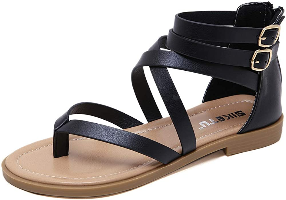 SHIBEVER Women Gladiator Spring new work one after another Sandals New Orleans Mall Summer F Roman Flat Thong Beach