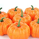 ShellKingdom Artificial Mini Pumpkin for Decoration, Fall Pumpkin for Home/Wedding Thanksgiving/Halloween/Party Decoration 12 PCS(Orange)