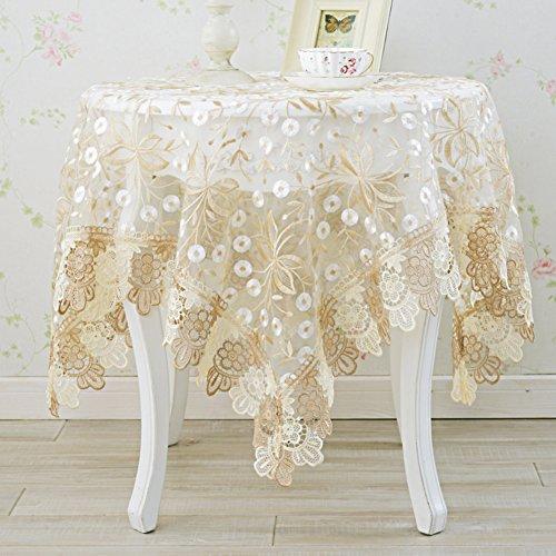 Européen Laine de Verre Nappe, Coffee Table Table à Manger Dentelle Nappe de Table, Circulaire Rectangulaire Rectangulaire-Brun Clair 65 * 65cm