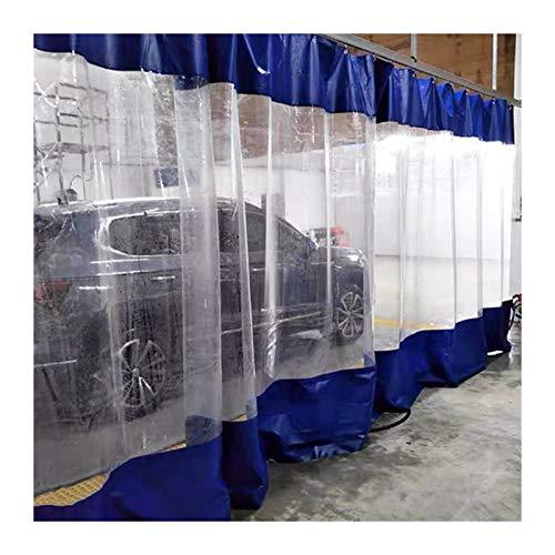 LSXIAO Al Aire Libre Impermeable Cortinas Claro Vinilo Empalme Lona A Prueba De La Intemperie con Pasacables Antioxidante para Patios, Balcón, Pérgola, Garaje (Color : Blue, Size : 4.8x2.5m)