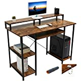 Gome Computer Writing Desk for Home Office - 47' Modern Study Work Gaming Desk with Storage Shelves/Keyboard Tray/Monitor Stand, Sturdy Industrial Desk Studio PC Table with Mouse Pad & Hanging Hooks