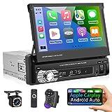 Podofo Autoradio a Singolo Din Compatibile con Apple Carplay e Android Auto, Touchscreen Retrattile da 7 Pollici Radio MP5 Universale per Auto con Ricevitore Radio FM Bluetooth + Telecamera di Backup