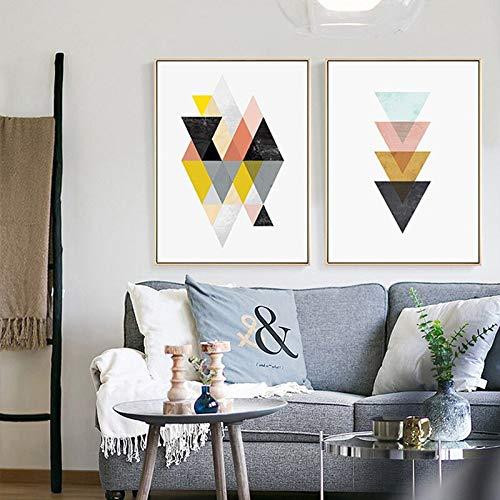 ganlanshu Triángulo gráfico Abstracto geométrico Lienzo Arte nórdico salón hogar decoración de la Pared,Pintura sin Marco,40X53cmx2