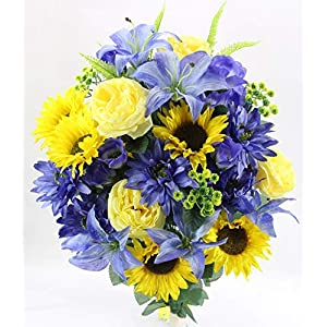 Artificial Spring 36 stem Dahlia Sunflower Mixed Flower Bush, Yellow/ Blue, ABN1B010-YW-BL