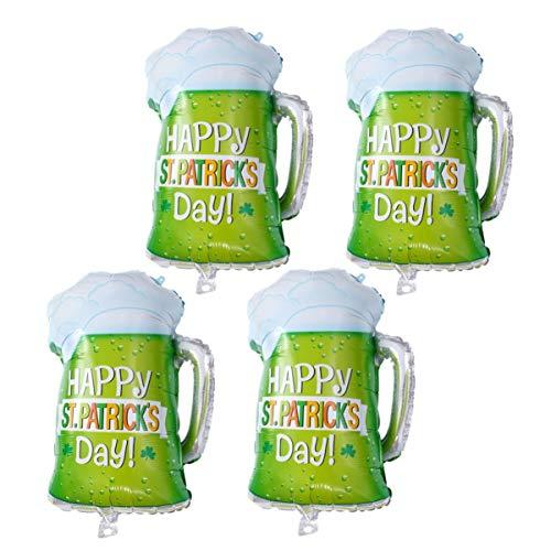 Amosfun St. Patricks Day Luftballons Kleeblatt Bierglas Form Luftballons Irish Party Zubehör Dekoration 4 Stück