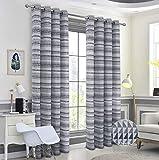 Always4u - Cortina con anillas para salón, diseño moderno, cocina, ventana, para habitación infantil, niña, 140 x 260 cm, color gris