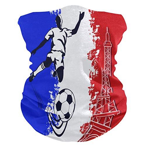 FELIZM - Bufanda para la cara, diseño de la bandera de Francia con la Torre Eiffel y pasamontañas para mujer y hombre, para la cabeza, para el polvo, los rayos UV y el viento al aire libre