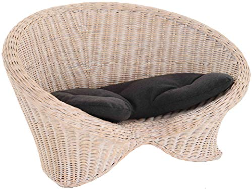 korb.outlet Lotus-Stuhl Meditationssessel aus echtem Rattan/Yoga Sitz zur Meditation Sessel (Vintage Weiss mit Kissen)