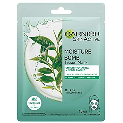 Garnier Moisture Bomb Tissue Mask, Green Tea Hydrating Tissue Face Sheet Mask Combination Skin 32 g