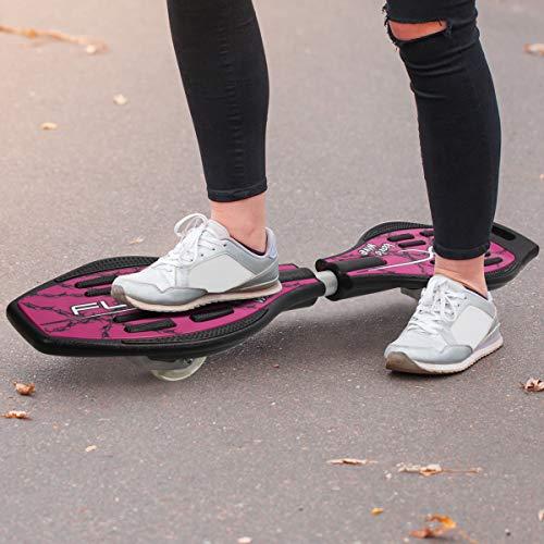GOPLUS Waveboard Streetboard Streetsurfing Skateboard mit Leuchtrolle Tragtasche für Kinder ab 5 Jahre bis 70kg (rot)