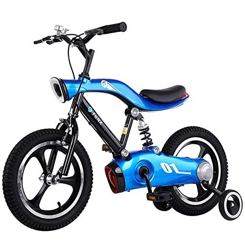 ZXQZ Bicicleta para Niños Bicicleta de Montaña de 14/16 Pulgadas con Protector de Cadena Completo y Luces, para Niños Y Niñas de 3 A 10 Años (Color : Blue, Size : 14'')