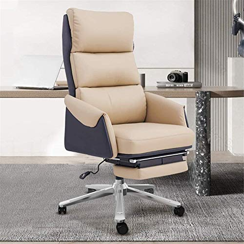 WGFGXQ Recliner Chairs Household Leather Boss Chair, Reclining Computer Chair, Comfortable Business Office Desk and Chair, Office Chair Swivel Chair Seat (Color : Tech LeatherOrange) hsvbkwm