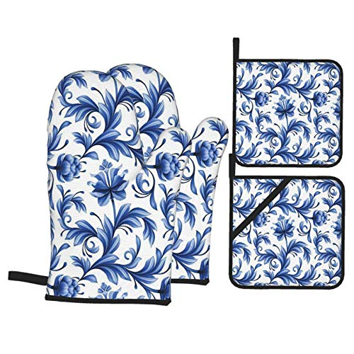 Oven Mitts and Pot Holders Sets of 4,Abstract Pattern With Russian Folk Art Flowers Traditional Gzhel Ornament,Polyester BBQ Gloves with Quilted Liner Resistant Hot Pads for Kitchen Cooking Baking