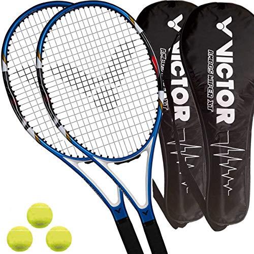 2 x Victor Ambos Wiper XT - Tennisschläger L3 besaitet + 2 Covers + 3 Bälle