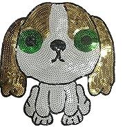 lihe008 子犬スパンコール布刺繍入りビーズ布布服パッチステッカーファッショントレンド服装飾ステッカー(2個)21 * 22cm
