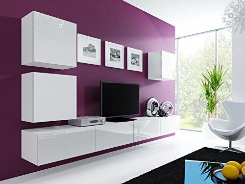 Jadella Wohnwand ' Vigo 22' Hochglanz Hängeschrank Lowboard Cube, Farbe:weiß matt/weiß Hochglanz