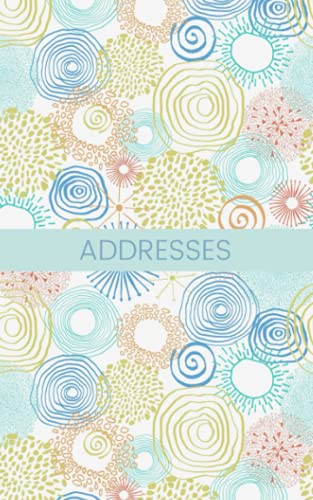 "Addresses: Pastel spirals; address book, phone book; 26 pages; 5"" x 8"""