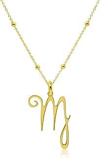 Collar Símbolos del Zodíaco Virgo para Mujer Plata de Ley 925 con Baño de Oro, Colgante Horóscopo, Astrología
