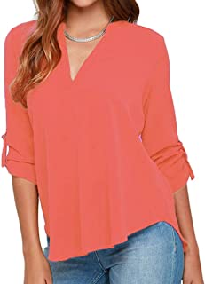82d68e750a0 roswear Women s Casual V Neck Cuffed Sleeves Solid Chiffon Blouse Top
