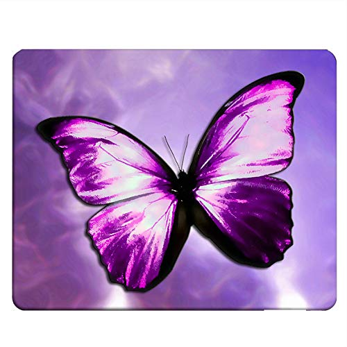 NICOKEE Butterfly Rectangle Gaming Mousepad The Magical Mystical Purple Butterfly Mouse Pad Mouse Mat for Computer Desk Laptop Office 9.5 X 7.9 Inch Non-Slip Rubber