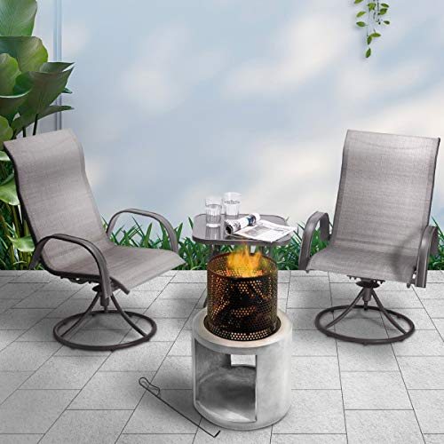 Peaktop Firepit Wood Burning Fire Pit Concrete Style with Steel Poker PT-FW0003, Grey/Black